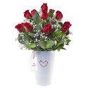 Arreglo en Base Lata Blanco con 15 Rosas Rojas Rosatel