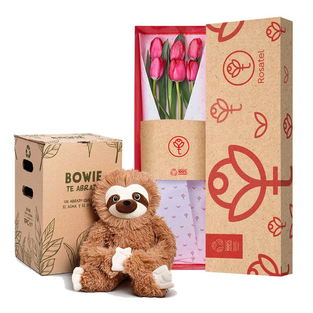 Caja 3R Natural con 6 Tulipanes Rojos y Bowie Rosatel