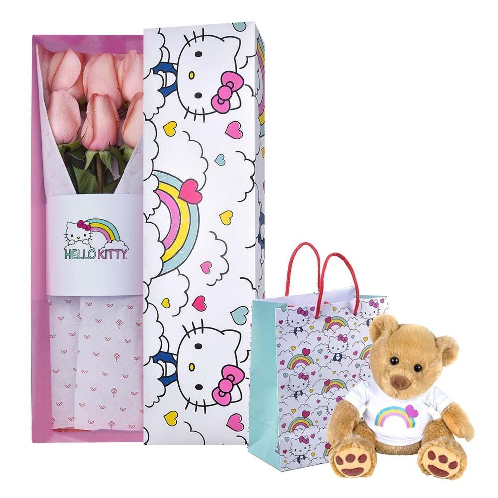 Pack Línea Arcoíris Hello Kitty con 6 Rosas Rosadas y Hugo Rosatel