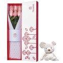 Caja Blanca con 6 Rosas Rosadas y Kiconico Rosatel