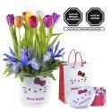 Pack Línea Lazos Hello Kitty 8 Tulipanes y Bombones Sorini Panna Rosatel