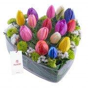 Arreglo Corazón con 15 Tulipanes Variados