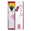 Caja Lazos Hello Kitty con  8 Rosas Preservadas Amarillas Rosatel