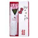 Caja Lazos Hello Kitty con 6 Rosas Preservadas Rosadas Rosatel