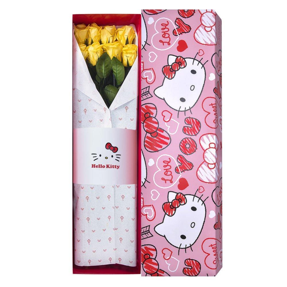 Caja Corazones Hello Kitty con 8 Rosas Preservadas Amarillas Rosatel