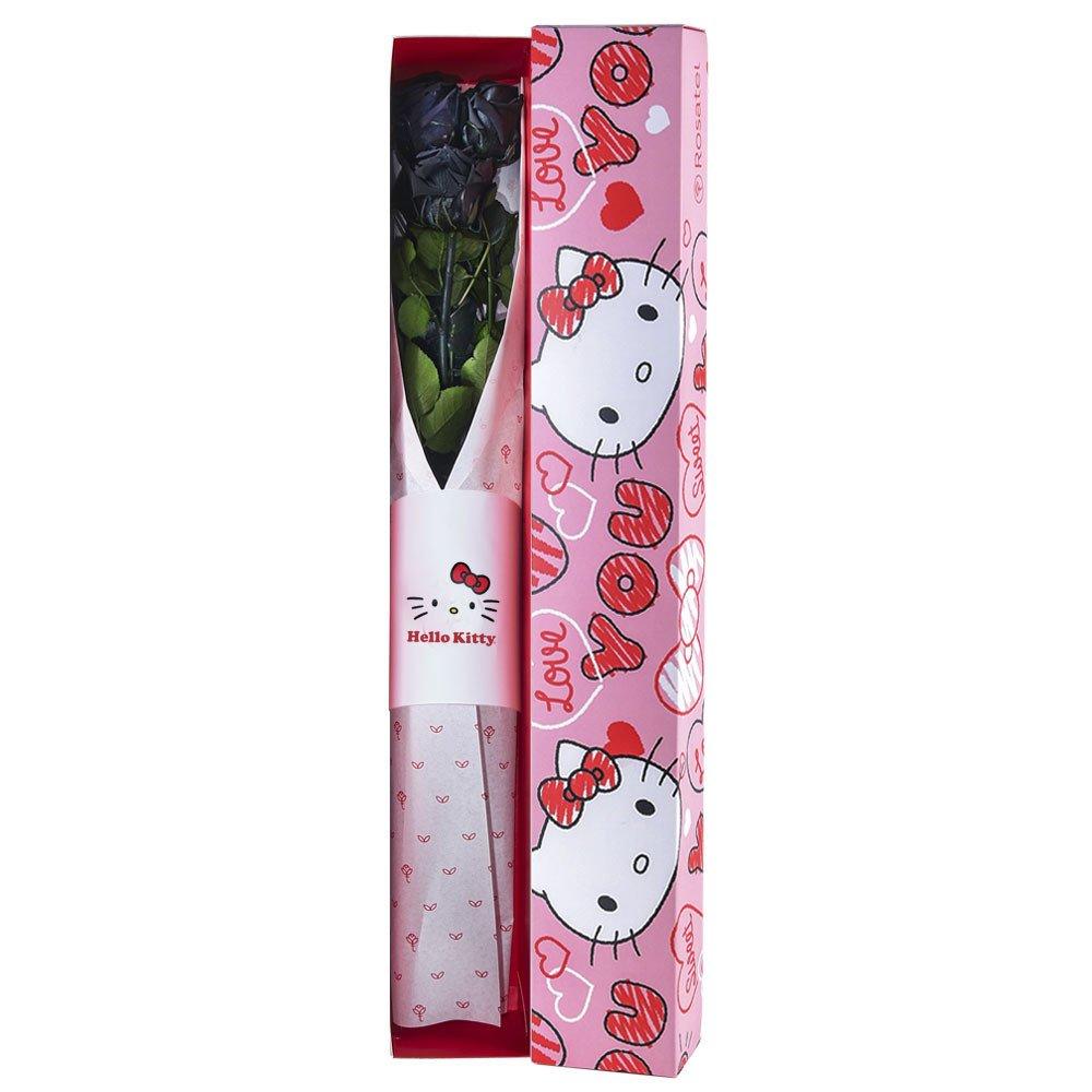 Caja Corazones Hello Kitty con3 Rosas Preservadas Negras Rosatel