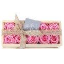 Caja de Madera con 10 Rosas Preservadas Rosadas Rosatel