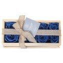 Caja de Madera con 10 Rosas Preservadas Azul Noche Rosatel