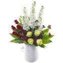 Cerámica Blanca Con Rosas Rojas Verdes y Flores Rosatel