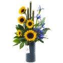 Cerámica Gris con Girasoles Iris y Agapando Rosatel