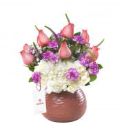 Cerámica Rosada con Rosas Rosadas y Flores