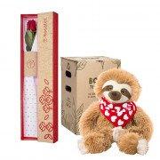 Caja 3R Natural con Rosa y Bowie Perezoso Badana Roja