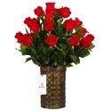 Canasta con 20 Rosas Rojas y Follaje