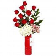 Cerámica Roja con 10 Rosas Rojas, Flores y Follaje