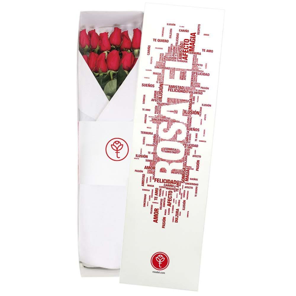 Caja blanca diseño palabras con 12 rosas