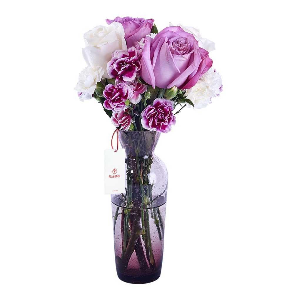 Florero Lila con Rosas, Flores y Follaje