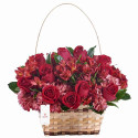 Canasta Grande con 15 Rosas, Astromelias y Hortensias