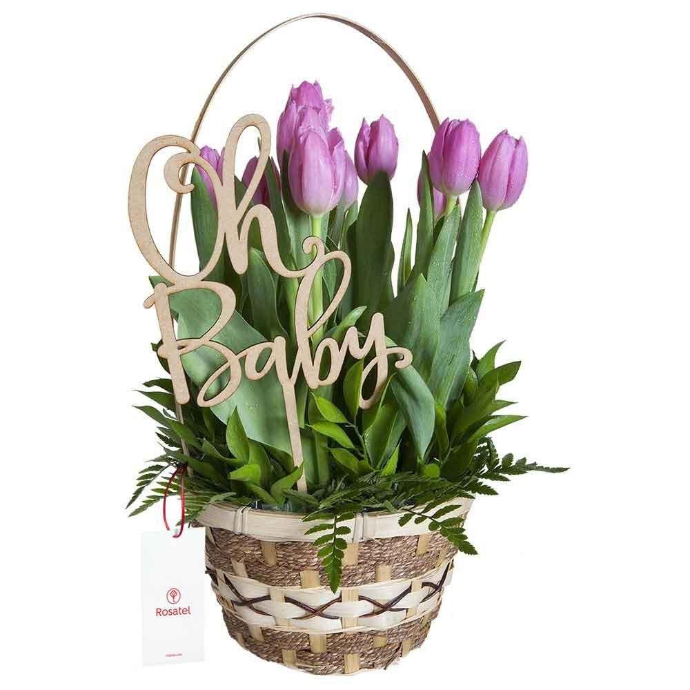Canasta con 12 Tulipanes Oh Baby