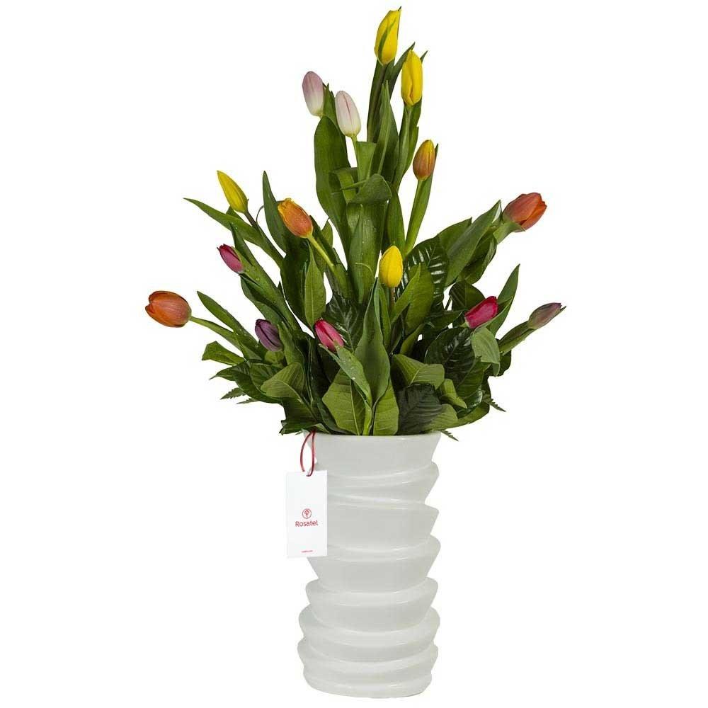 Cerámica Blanca con 15 Tulipanes