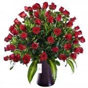 Florero Kero Marrón con 100 Rosas Rojas