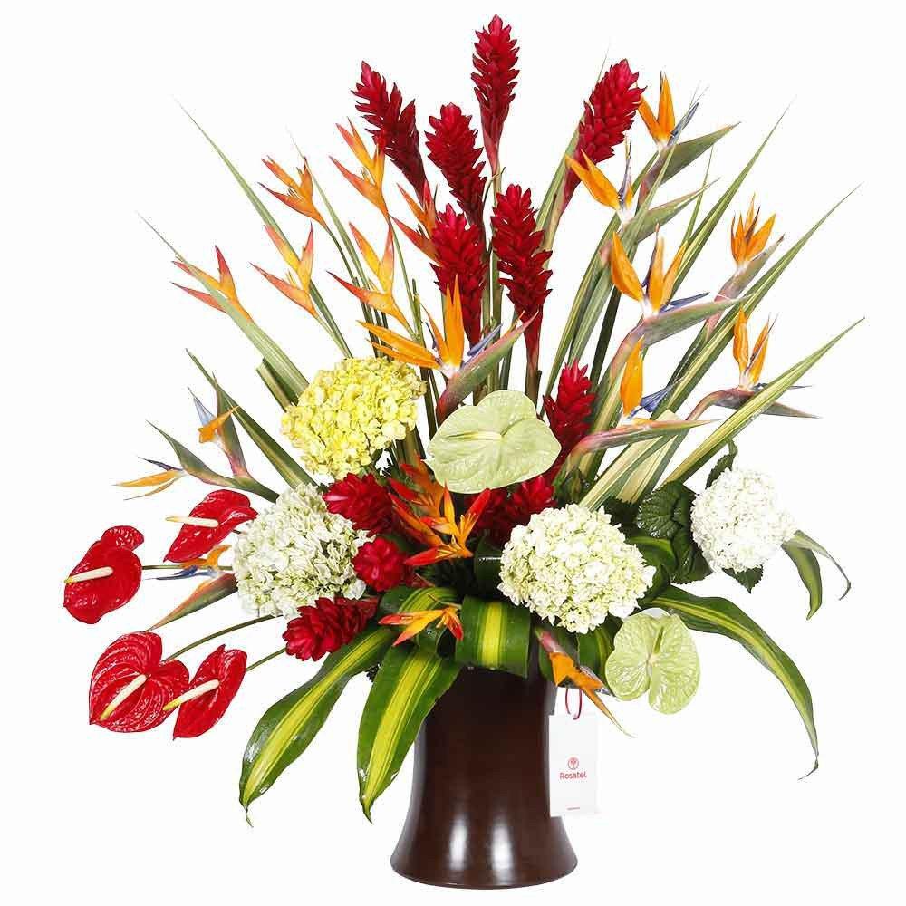 Florero Kero Marrón con Flores