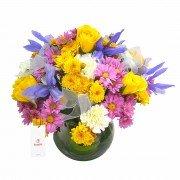 Pecera De Vidrio Con Flores De Estación