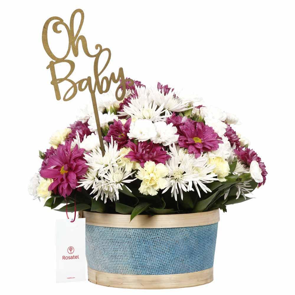 Canasta Celeste con Clavelinos y Flores Oh Baby