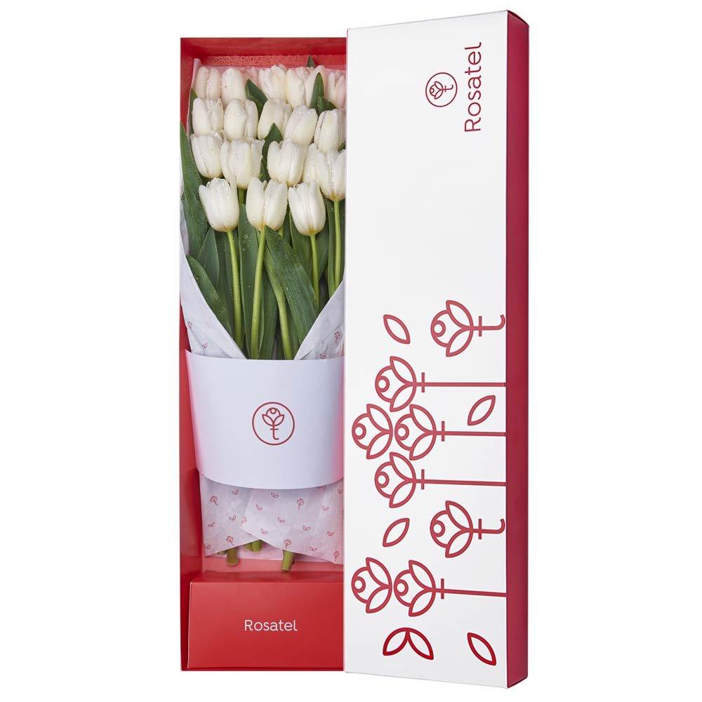 Caja Blanca con 18 Tulipanes