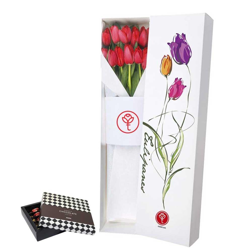 Caja con 12 Tulipanes y de Regalo Chocolates Sorini