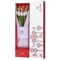 Caja Blanca con 12 Tulipanes Bicolor
