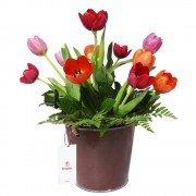 Lata con 12 Tulipanes Colores Variados