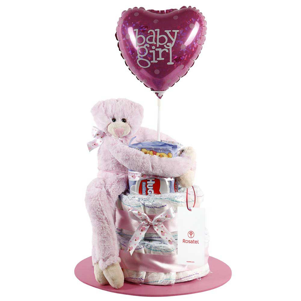 Torta de pañales con Oso Amoroso Rosado, Paños y Globo Niña