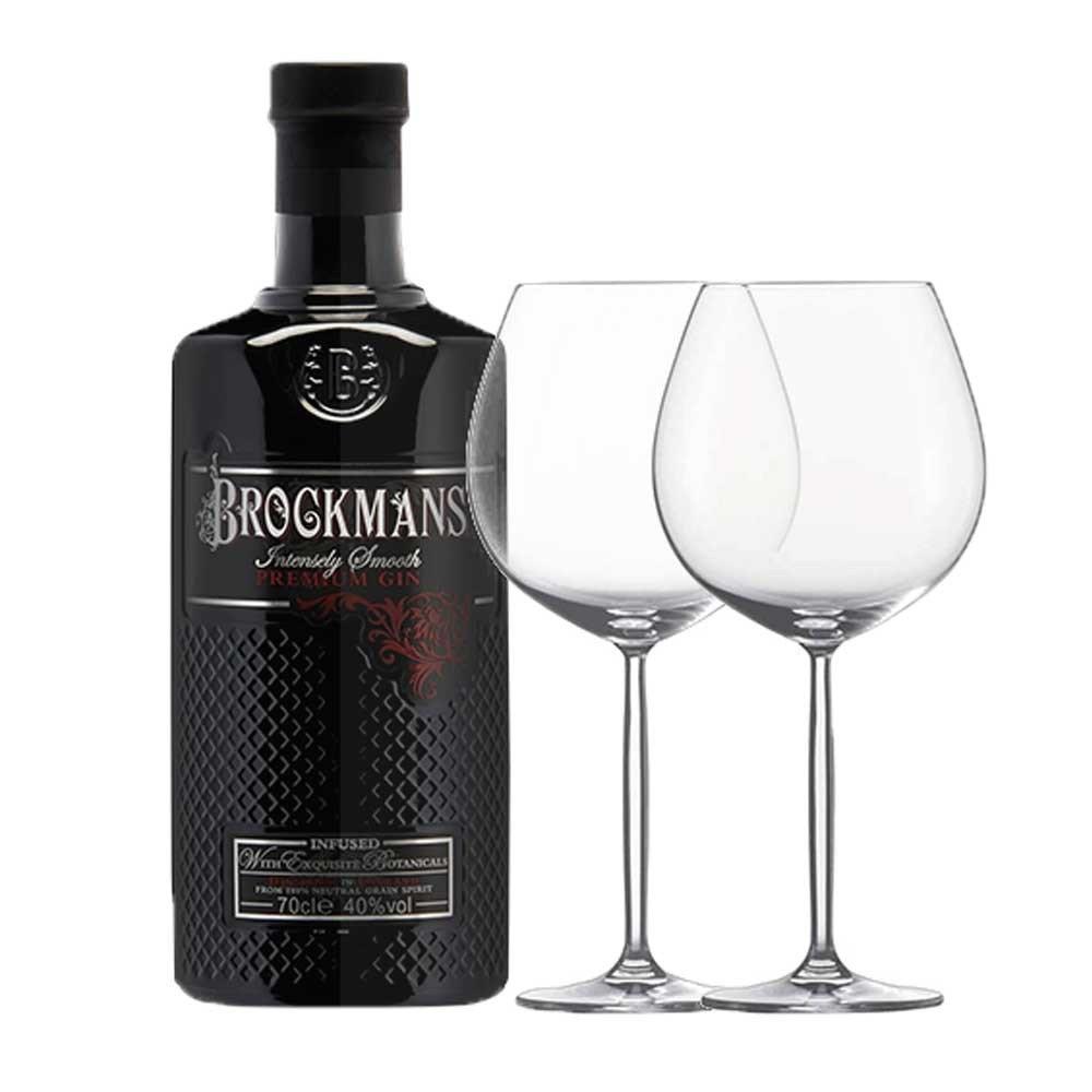 Brockmans Premium Gin y 2 Copas Cristal Gin