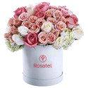 Sombrerera Blanca Grande con Rosas, Mini Rosas y Hortensias