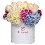 Sombrerera Blanca Grande Con Rosas Y Flores