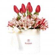 Sombrerera Blanca Mediana Con 10 Tulipanes Y Astromelias
