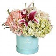 Sombrerera Turquesa Mediana Con Flores Variadas