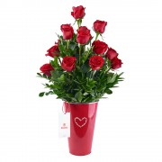 Lata Roja Corazón con 15 Rosas Rojas